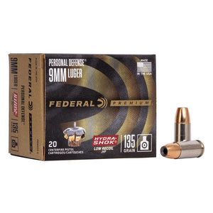 9mm Luger - Federal - Personal Defense, Hydra•Shok JHP 135GR.