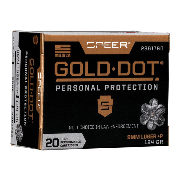 9mm Lugar +P 124GR - Speer Ammunition - Gold Dot, Handgun Personal Protection