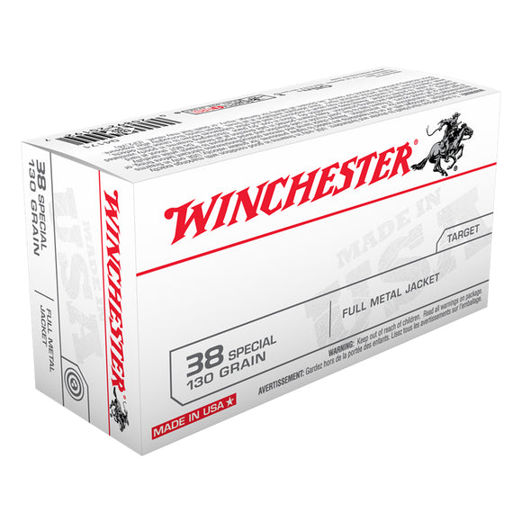 .38 Special, Winchester Ammunition, USA FMJ 130GR. 50RD/BX
