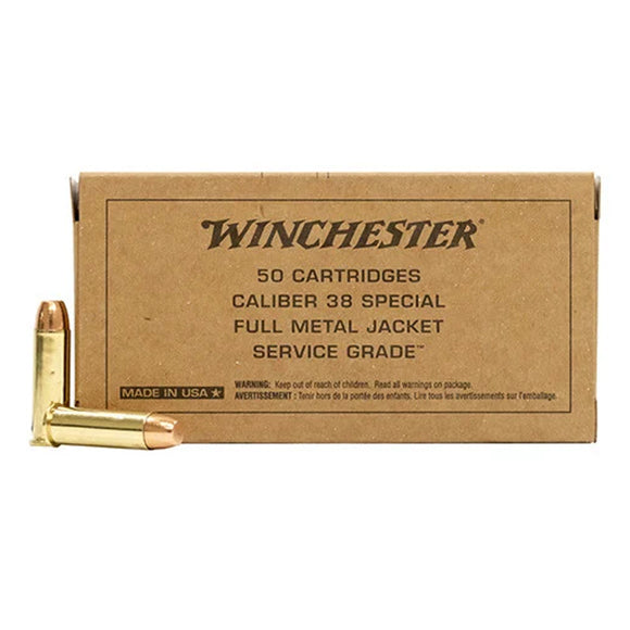 .38 Special, Winchester Ammunition, Service Grade FMJFN 130GR. 50RD/BX