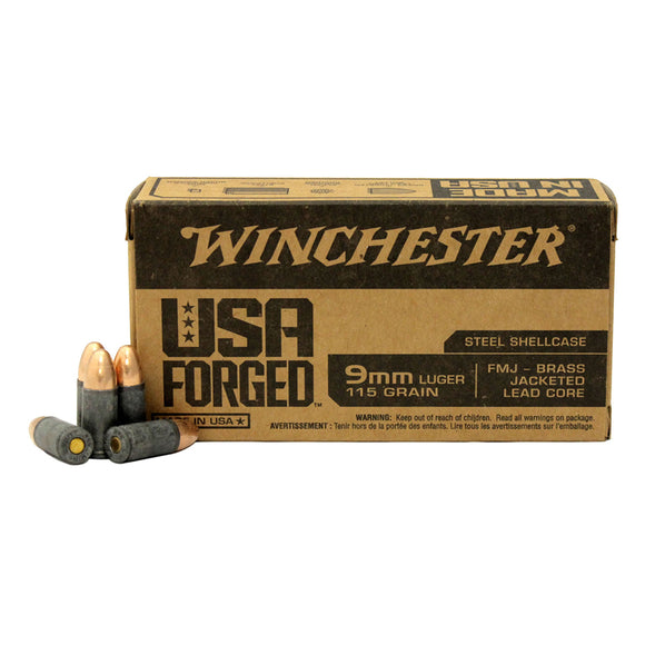 9mm Luger, Winchester Ammunition, USA Forged™ FMJ 115GR 50RD/BX