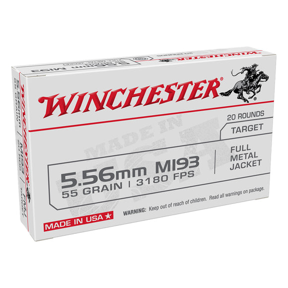 5.56 NATO, Winchester Ammo, USA FMJ 55GR. 20RD/BX