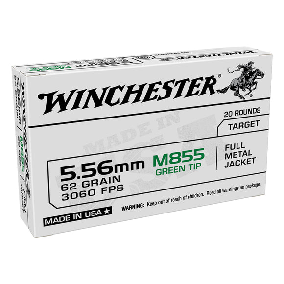 5.56 NATO, Winchester Ammo, USA GREEN TIP FMJ 62GR. 20RD/BX