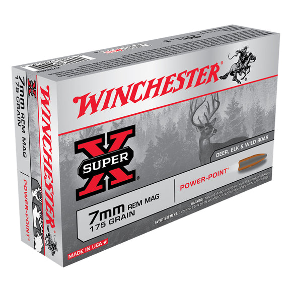 7mm Rem Mag, Winchester Ammo, Super-X Power Point 175GR., 20BX