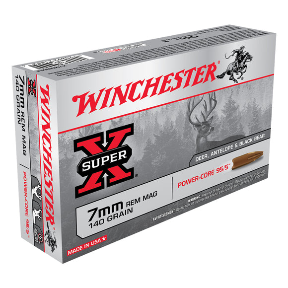 7mm Rem Mag, Winchester Ammo, Super-X Power-Core 95/5 140GR., 20BX