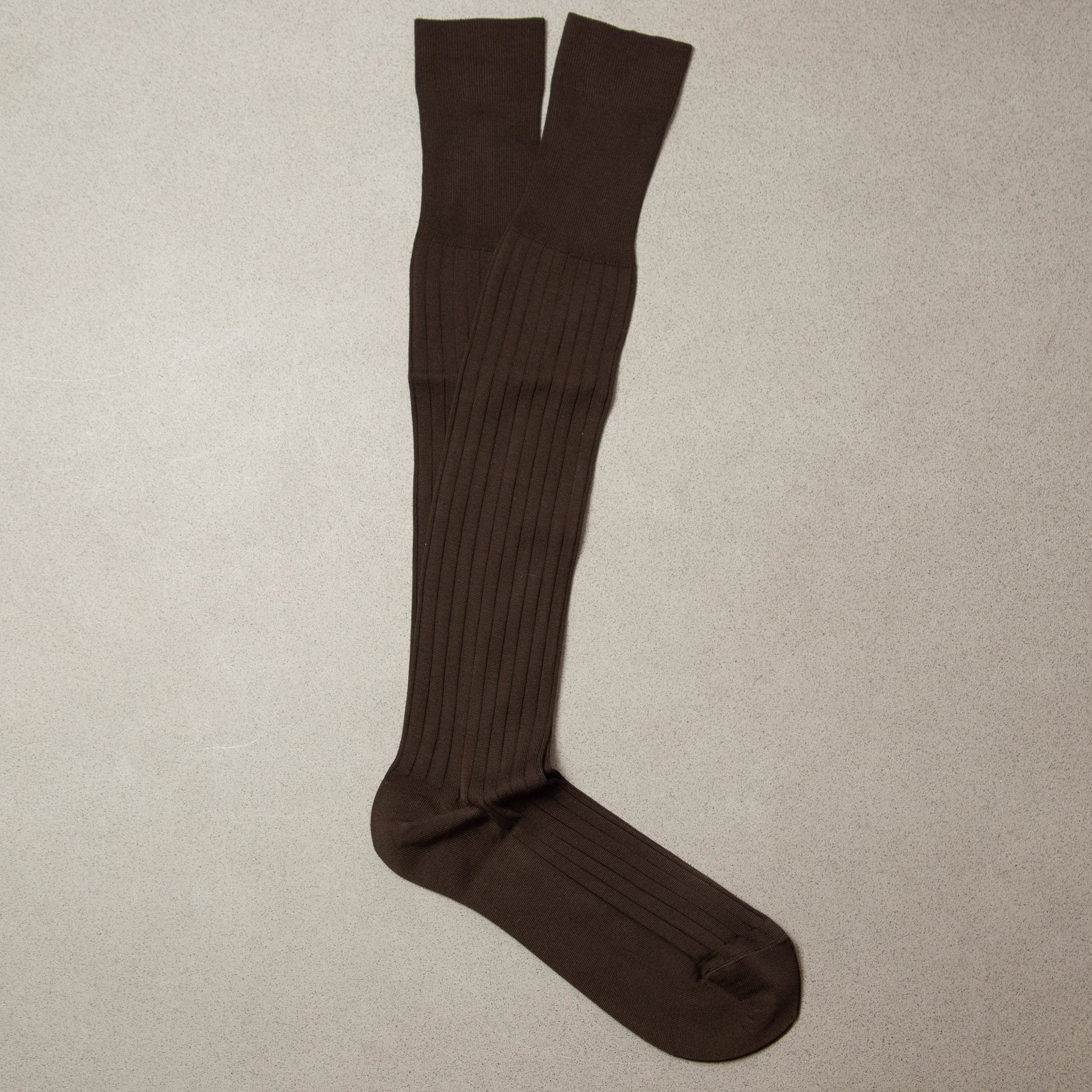 Olle - Knee-High Cotton Socks - Brown