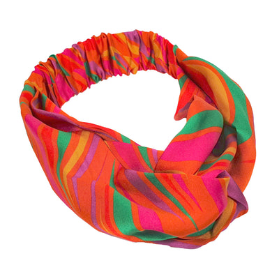 vibrant orange silk headband