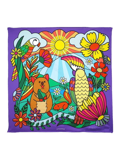 Purple silk Scarf depicting Australian wildlife and sun