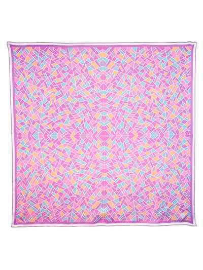 pink silk scarf with mosaic pattern