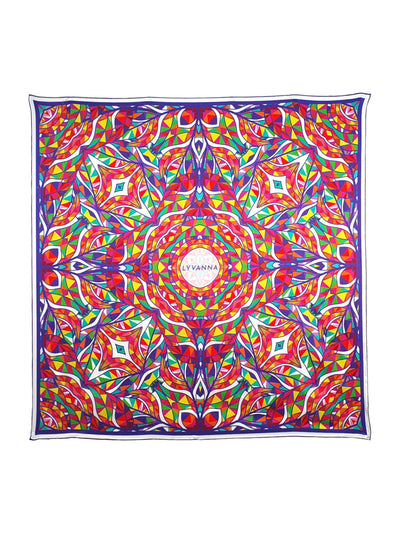 geometric artwork on scarf with red and blue aspects