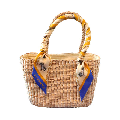 Natural bag with silk twilly