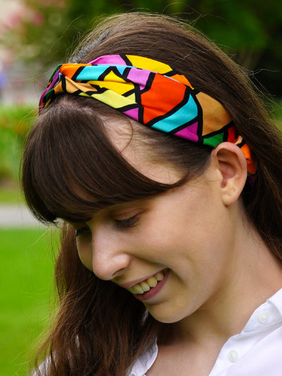 Puzzle pattern headband silk