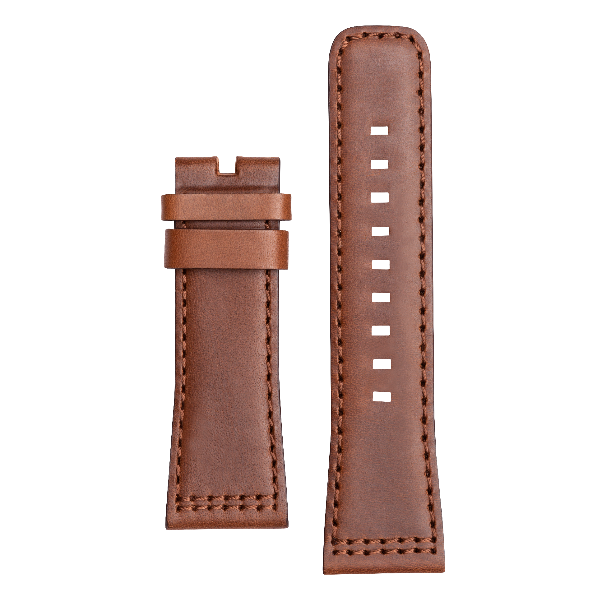 Leather strap XS brown, brown stitching