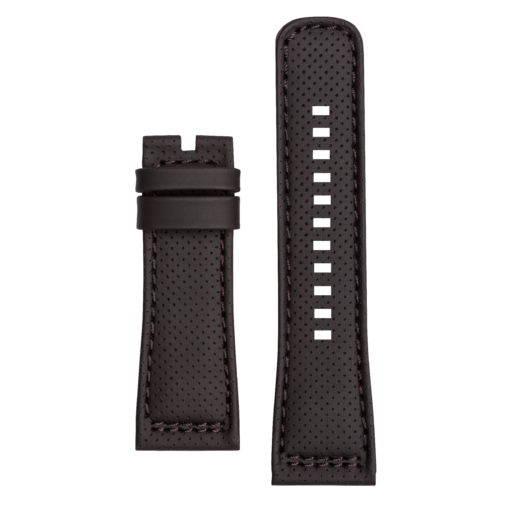 Leather strap XS black, perforated