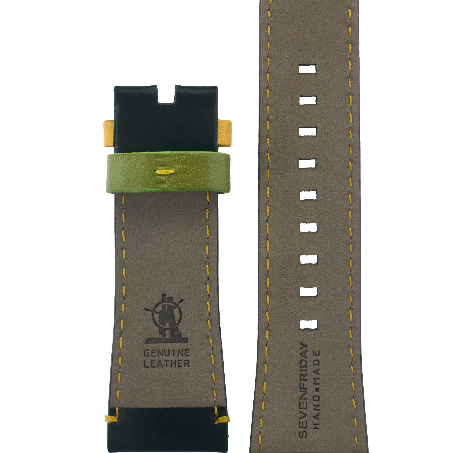 Leather strap black, yellow stitching, yellow and green loop