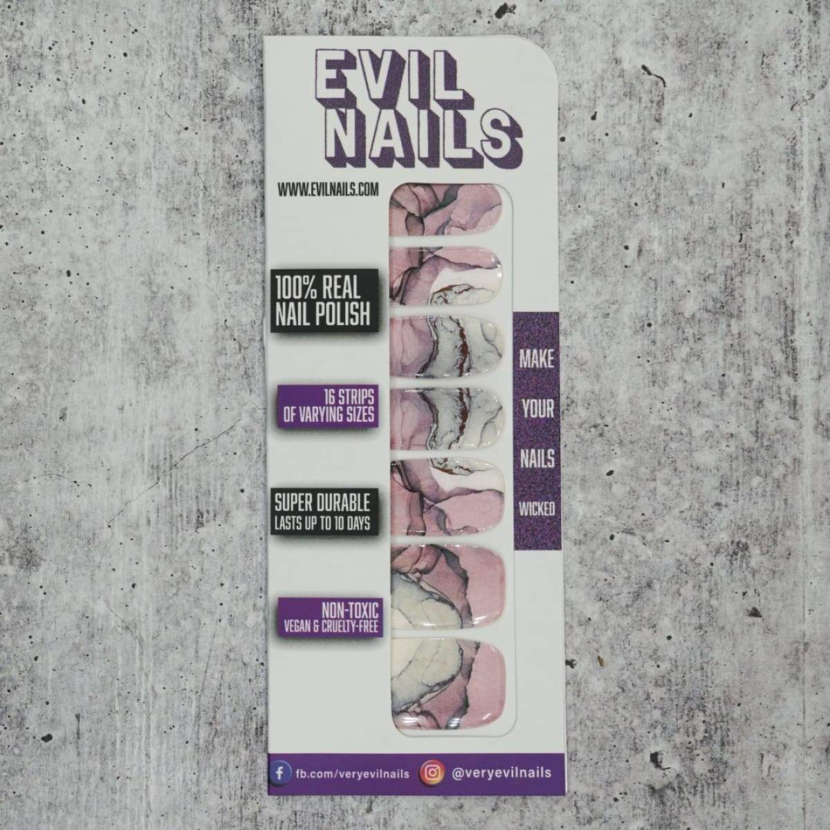 Marbled Mauve - Nail Polish Strips