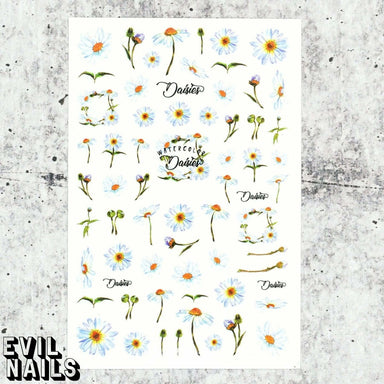 Evil Nails Decals Watercolor Daisies