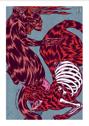 Cat Fight Giclee Print