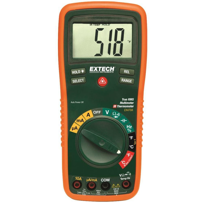 Extech EX470A: 12 Function True RMS Professional MultiMeter + InfraRed Thermometer - anaum.sa
