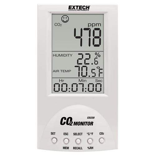 Extech CO220: Desktop Indoor Air Quality CO2 Monitor - anaum.sa