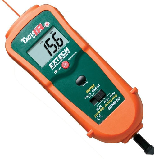 Extech RPM10: Photo/Contact Tachometer with built-in InfraRed Thermometer - anaum.sa
