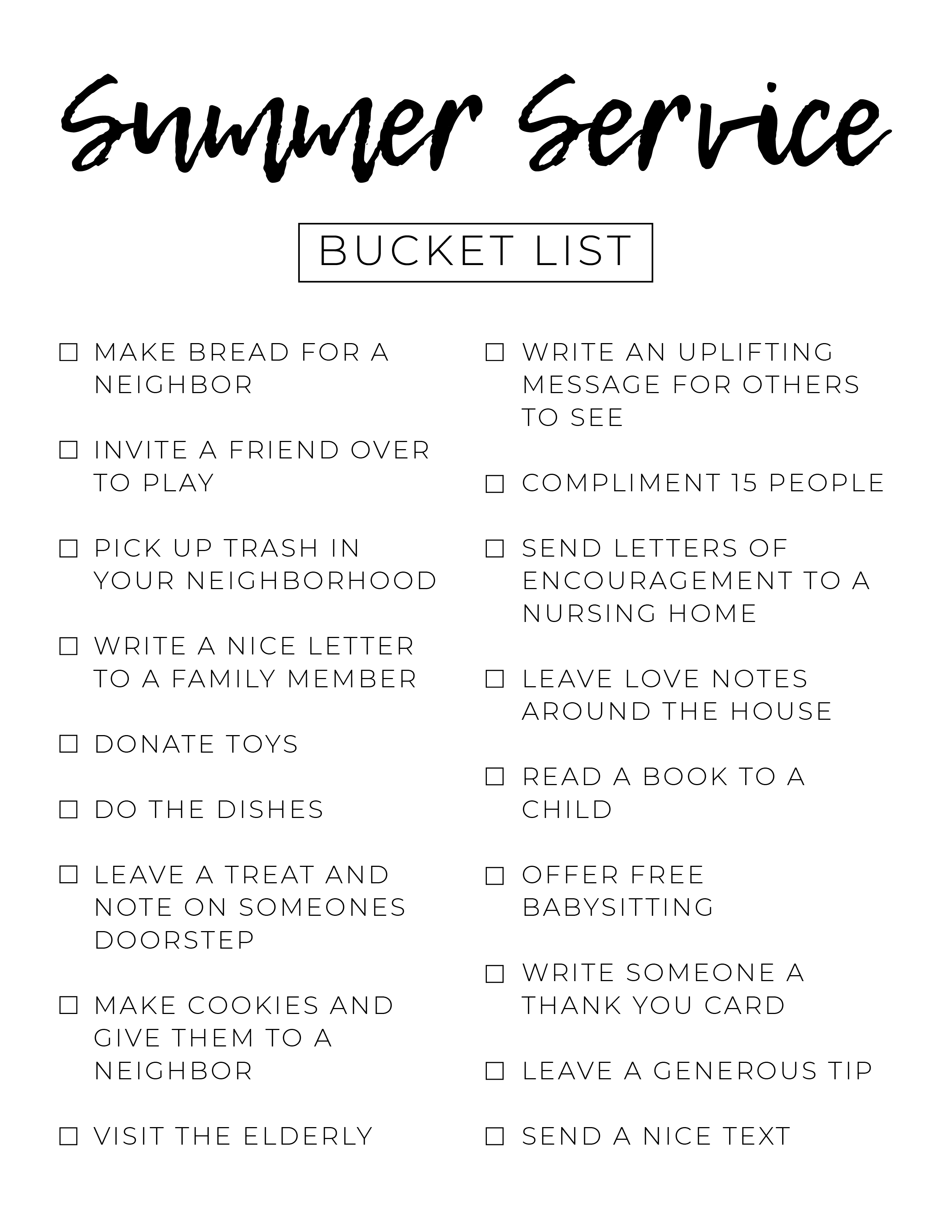 Summer Service Bucket List