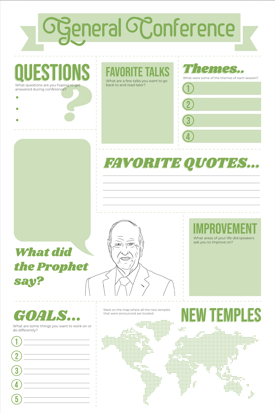General Conference Poster and Worksheet Green