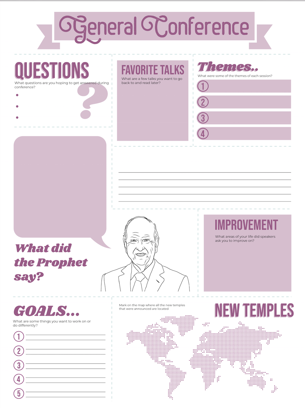 General Conference Poster and Worksheet Purple