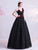 Spaghetti Straps V Neck Ball Gown Prom Dress with Flower Appliques