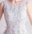 Scoop Neck Flower Appliques Top A-line Prom Dress with Chapel Train