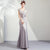 Cap Sleeve Illusion Back Mermaid Evening Dress with Bow