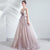 Deep V Neck Tulle A-line Wedding Dress with Flower Appliques