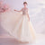 V Neck Illusion Sleeves Ballgown Evening Dress with Flower Appliques
