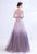 Illusion Neck Gradient Ramp Color Evening Dress with Flower Appliques