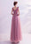 Deep V Neck A-line Tulle Evening Dress with Butterfly Applique