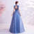 High Neck Floral Appliques Debutante Style A-line Evening Dress