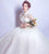Short Sleeve Illusion Neck High Neck A-line Wedding Dress