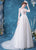 Illusion Sleeves Scoop Neck Wedding Dress with Chapel Train