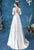 Long Illusion Sleeves Deep V Neck Satin Wedding Dress with Court Train