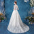 Illusion Neck Flower Embroidered Tulle Wedding Dress with Court Train