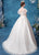 Lotus Leaf Sleeves Flower Embroidered Organza Wedding Dress with Court Train