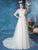 Short Sleeves Illusion Neck Wedding Dress with Chapel Train