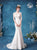 Cap Sleeves Illusion Neck Mermaid Wedding Dress with Chapel Train