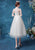 Illusion Neck & Sleeve Floral Lace Knee Length Tulle Wedding Dress