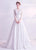 Floral Lace Illusion Neck A-Line Wedding Dress with Chapel Train