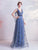 Starry Sky Deep V Neck Regular Straps A-Line Prom Dress with Sash