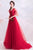 Deep V Neck Puff Sleeves Prom Dress with Flower Appliques & Sequins