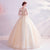 Scoop Neck Illusion Sleeve Floral Appliques Tulle Wedding Dress