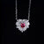 50 Cents Ruby Pendant White Gold Plated 925 Silver Necklace
