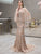 Mermaid Evening Dress with Sequins Chapel Train & Feather Shawl